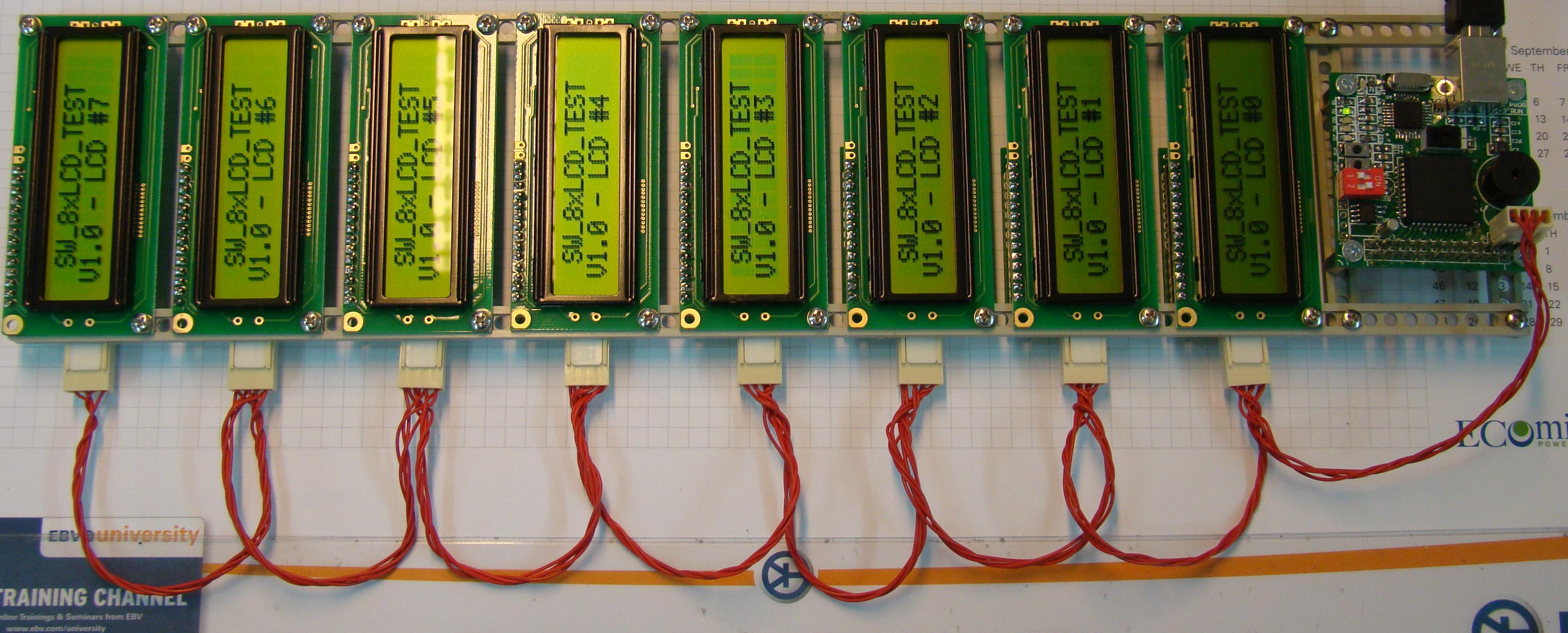 Interface 8 LCD displays with only two wires
